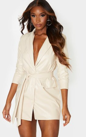 Light Stone Pu Long Sleeve Tie Waist Blazer Dress | PrettyLittleThing
