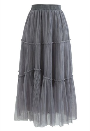 Soft Mesh Ruffle Detail Pleated Skirt in Grey - Retro, Indie and Unique Fashion