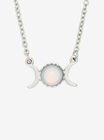 Blackheart Double Crescent Moon Moonstone Necklace