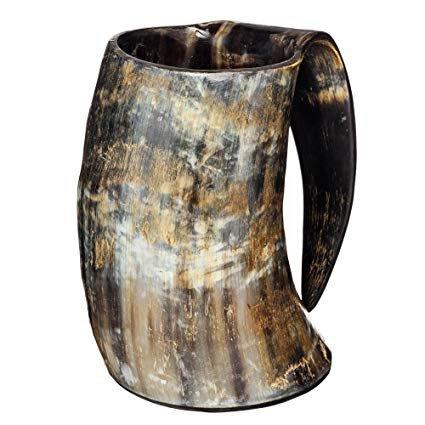 medieval AleHorn Hand Made 36 Unzen - 1 LITER - Natural Finish Trinkhorn Tankard: Amazon.de: Küche & Haushalt