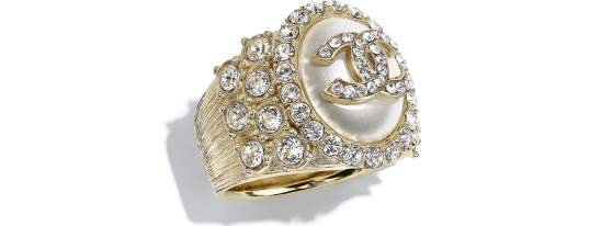 Ring, metal, strass & resin, gold, crystal & pearly white - CHANEL