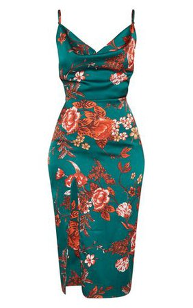 Emerald Green Floral Strappy Satin Cowl Midi Dress   PrettyLittleThing