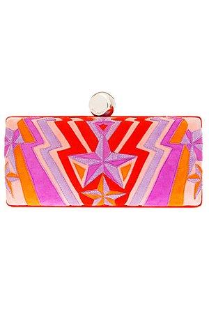 pink orange red emilio pucci clutch