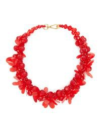 Simone Rocha Women's Red Floral Beaded Necklace