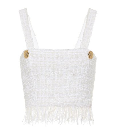 Fringed tweed crop top
