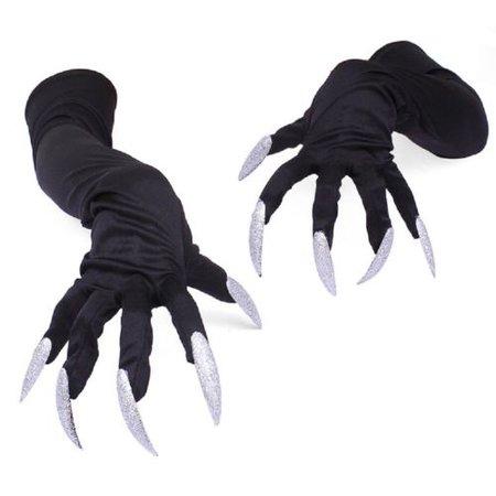 UK STOCK Halloween Costume Gloves Claw Hands Black Long Fingernails Props New   eBay