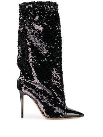 Black Alexandre Vauthier Laura 100Mm Sequinned Boots | Farfetch.com