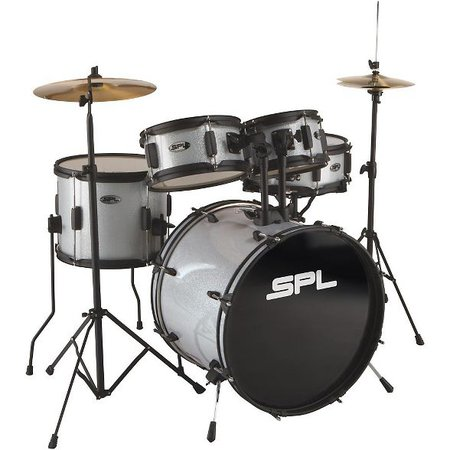 Sound Percussion Labs Kicker Pro 5-Piece Drum Set With Stands, Cymbals And Throne Silver Metallic Glitter : Target