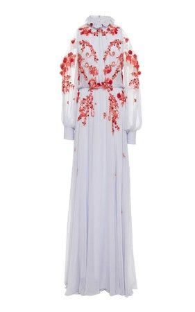 Cold Shoulder Long Sleeve Gown by Monique Lhuillier   Moda Operandi
