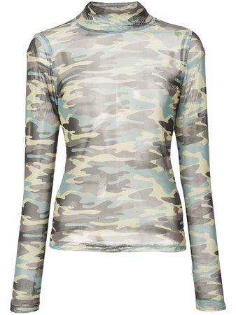 Sandy Liang Top à Motif Camouflage - Farfetch