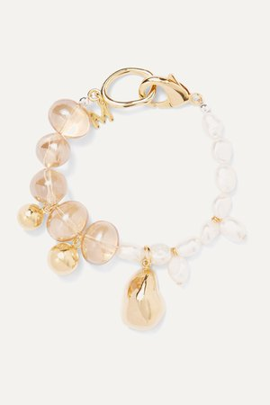 Gold Gold-plated glass and pearl bracelet | Mounser | NET-A-PORTER