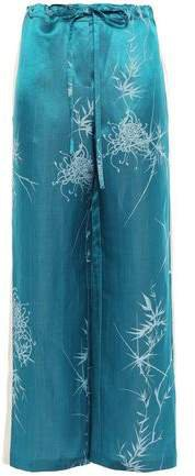 Linen And Silk-blend Jacquard Wide-leg Pants