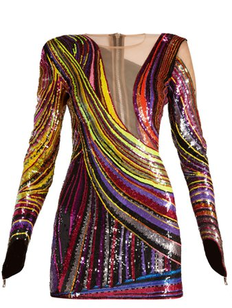 Sequin-embellished mini dress | Balmain | MATCHESFASHION.COM