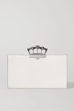 Ivory Knuckle embellished textured-leather clutch | Alexander McQueen | NET-A-PORTER