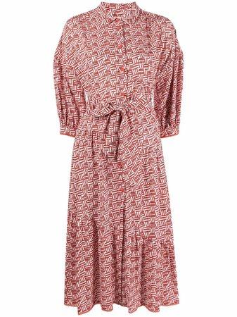 DVF Diane Von Furstenberg Luna cotton-jacquard Shirt Dress - Farfetch