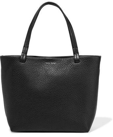 Park Small Textured-leather Tote - Black