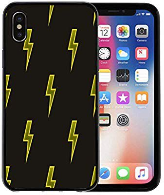 Amazon.com: Semtomn Phone Case for Apple iPhone Xs case,Colorful Abstract Yellow Neon Lightning Bolt on Dark Brown Glowing Effect Black for iPhone X Case,Rubber Border Protective Case,Black