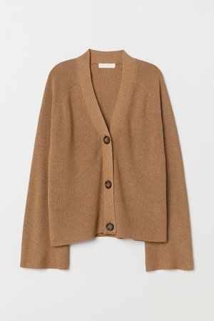 camel brown cardigan-H&M