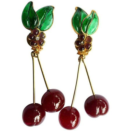 Vintage Chanel Gripoix Cherry Earrings at 1stdibs