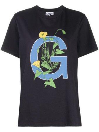 GANNI logo-print T-shirt - Farfetch