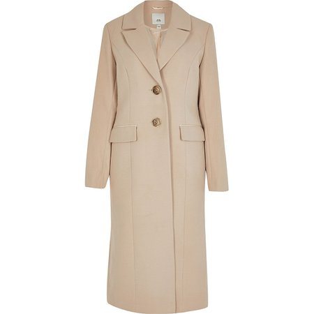 Beige slim fit longline coat | River Island