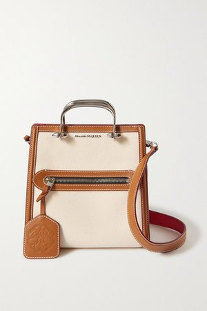 The Short Story Leather-trimmed Canvas Tote - Tan