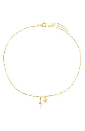 Adina's Jewels Star & Lightning Bolt Charm Anklet | Nordstrom