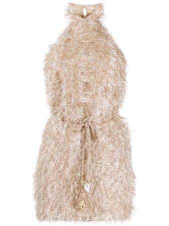 Nanushka Metallic Fuzzy Mini Dress - Farfetch