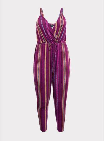 Berry Purple Stripe Jersey Jumpsuit | Torrid