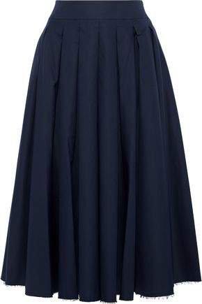 Alexa Pleated Cotton-twill Midi Skirt