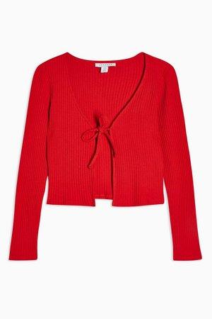Red Tie Front Cardigan   Topshop