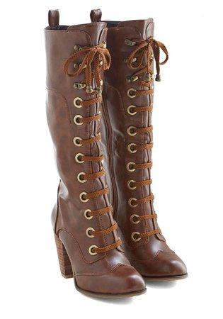 Dark Brown Knee High Heel Boots w/ Laces