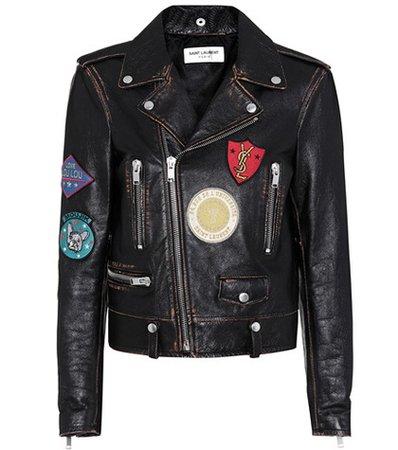 Appliquéd leather biker jacket