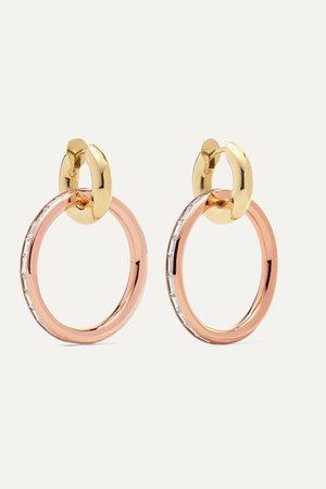Gold Theano 18-karat rose and yellow gold diamond hoop earrings | Spinelli Kilcollin | NET-A-PORTER