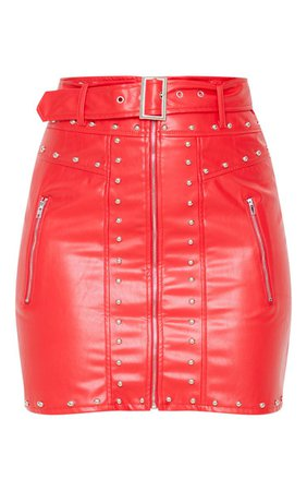 Red Faux Leather Stud Detail Belted Mini Skirt | PrettyLittleThing