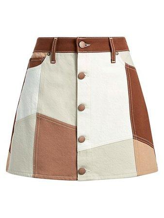 Alice + Olivia Jeans Good High-Rise Patchwork Mini Skirt | SaksFifthAvenue