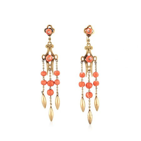 Tenenbaum JewelersAntique Gold and Coral Earrings | Tenenbaum Jewelers