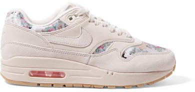 Air Max 1 Suede And Floral-print Satin Sneakers - Beige