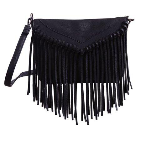 HDE Leather Envelope Fringe Shoulder Bag Tassel Crossbody Handbag Women's Purse (Black) - Walmart.com