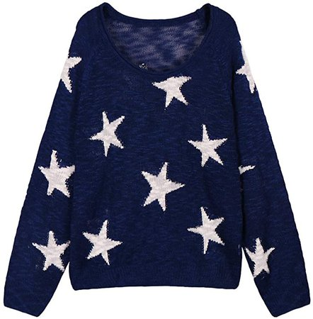 COCOLEGGINGS Women's V Neck Long Sleeve Stars Knit Jumper Sweater Navy Blue L at Amazon Women's Clothing store