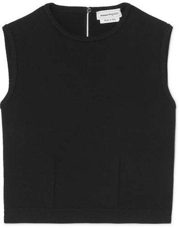Cropped Stretch-knit Tank - Black