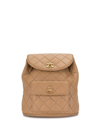 Shop Chanel Pre-Owned 1996 quilted CC backpack with Express Delivery - Farfetch