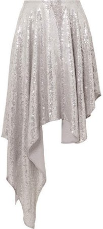 Asymmetric Sequined Georgette Midi Skirt - Silver