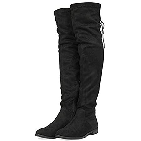 DREAM PAIRS Women's Laurence Black Over The Knee Thigh High Chunky Heel Boots Size 9.5 M US | Over-the-Knee