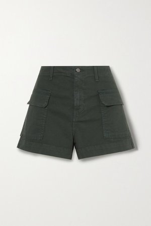 Demi Cotton-blend Cargo Shorts - Army green