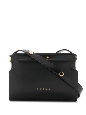 Black Leather Trunk Reverse Shoulder Bag