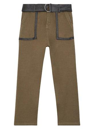 The Kooples Faux-Leather Trim Cropped Pants   SaksFifthAvenue