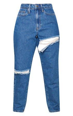 Mid Blue Wash Thigh Rip Denim Mom Jeans | PrettyLittleThing USA