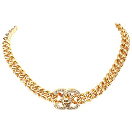 Chanel Gold-Plated Swarovski Encrusted Choker For Sale at 1stdibs