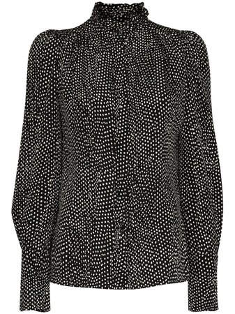 Shop black & white Isabel Marant Lamia puff-sleeve blouse with Express Delivery - Farfetch